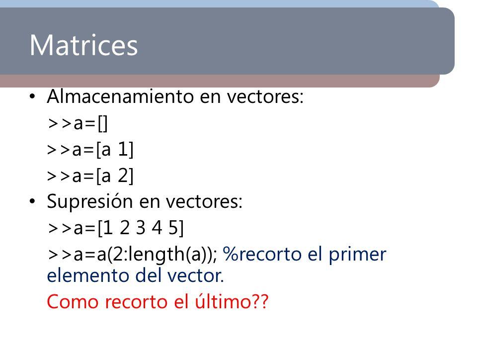 Matrices Almacenamiento en vectores: >>a=[] >>a=[a 1]
